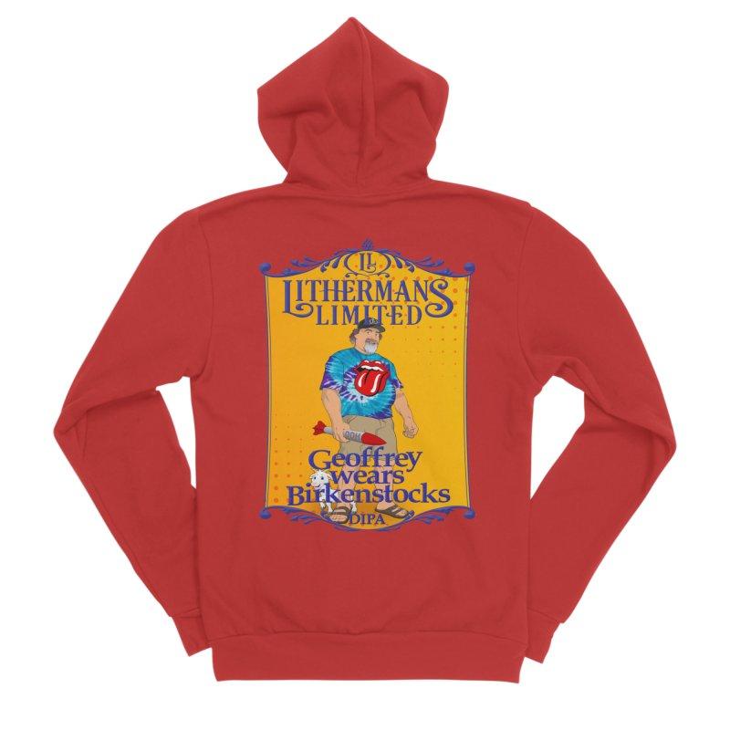 Geoffery Wears Birkenstocks Women's Sponge Fleece Zip-Up Hoody by Lithermans Limited Print Shop