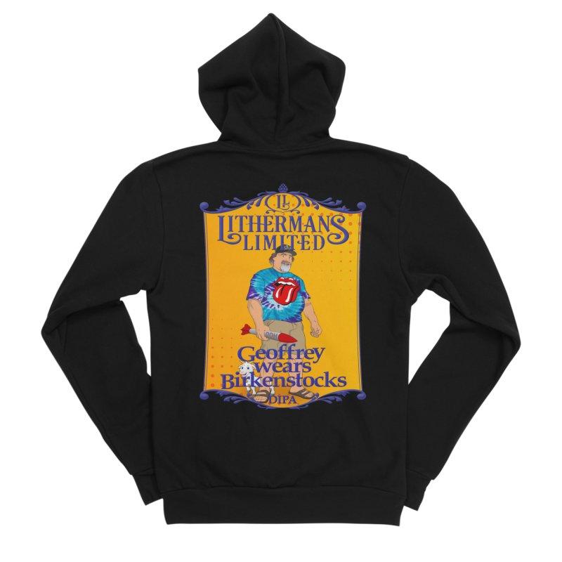 Geoffery Wears Birkenstocks Men's Sponge Fleece Zip-Up Hoody by Lithermans Limited Print Shop