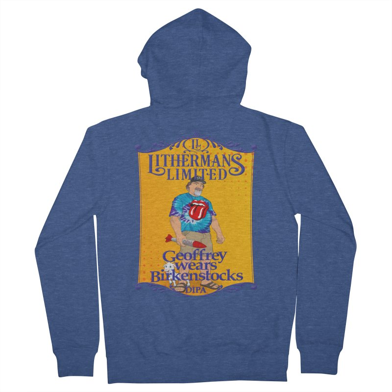 Geoffery Wears Birkenstocks Men's French Terry Zip-Up Hoody by Lithermans Limited Print Shop