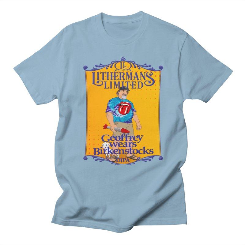 Geoffery Wears Birkenstocks Men's T-Shirt by Lithermans Limited Print Shop