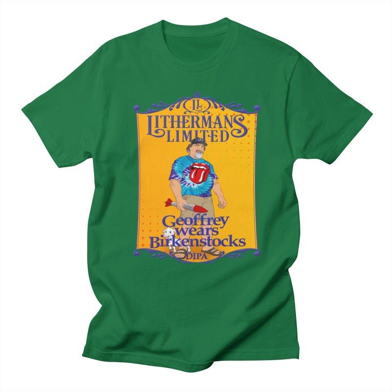 Geoffery Wears Birkenstocks Men's Regular T-Shirt by Lithermans Limited Print Shop