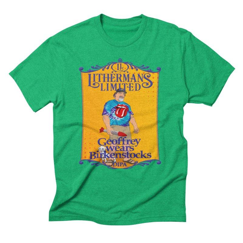 Geoffery Wears Birkenstocks Men's Triblend T-Shirt by Lithermans Limited Print Shop