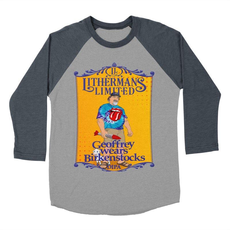 Geoffery Wears Birkenstocks Men's Baseball Triblend Longsleeve T-Shirt by Lithermans Limited Print Shop