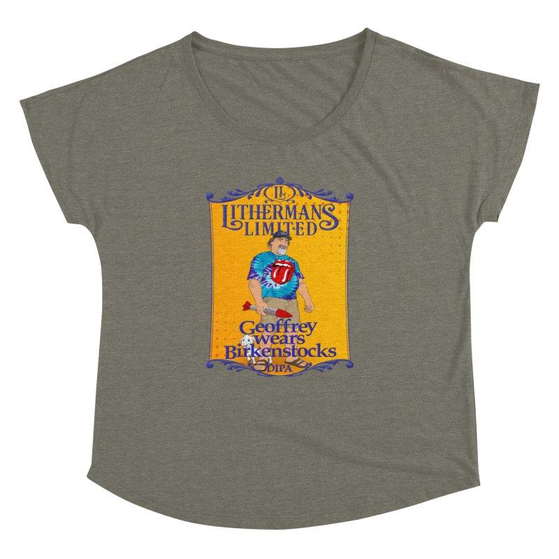Geoffery Wears Birkenstocks Women's Dolman Scoop Neck by Lithermans Limited Print Shop