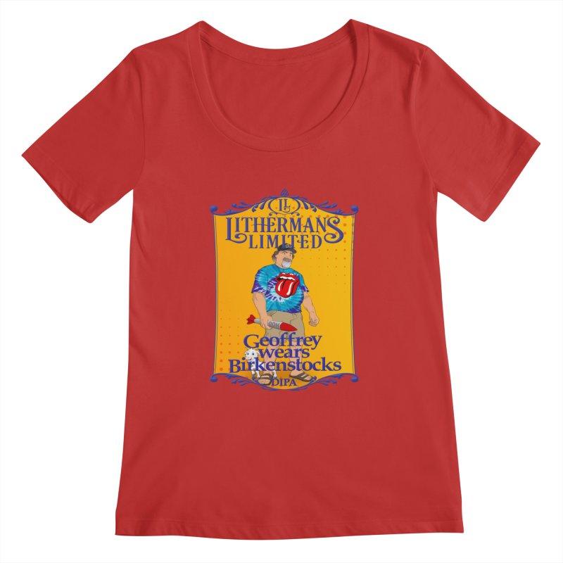 Geoffery Wears Birkenstocks Women's Regular Scoop Neck by Lithermans Limited Print Shop