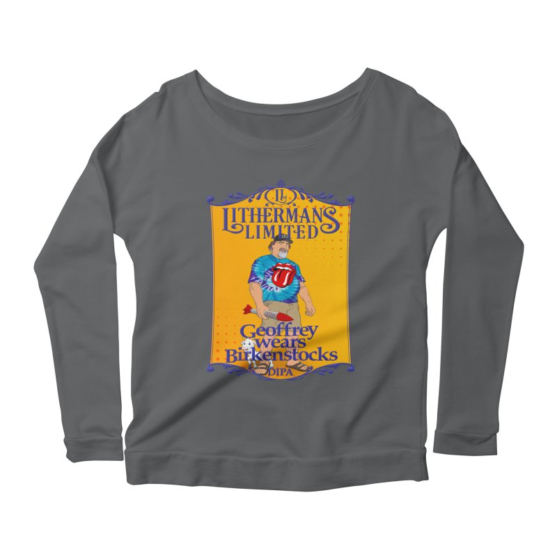 Geoffery Wears Birkenstocks Women's Scoop Neck Longsleeve T-Shirt by Lithermans Limited Print Shop