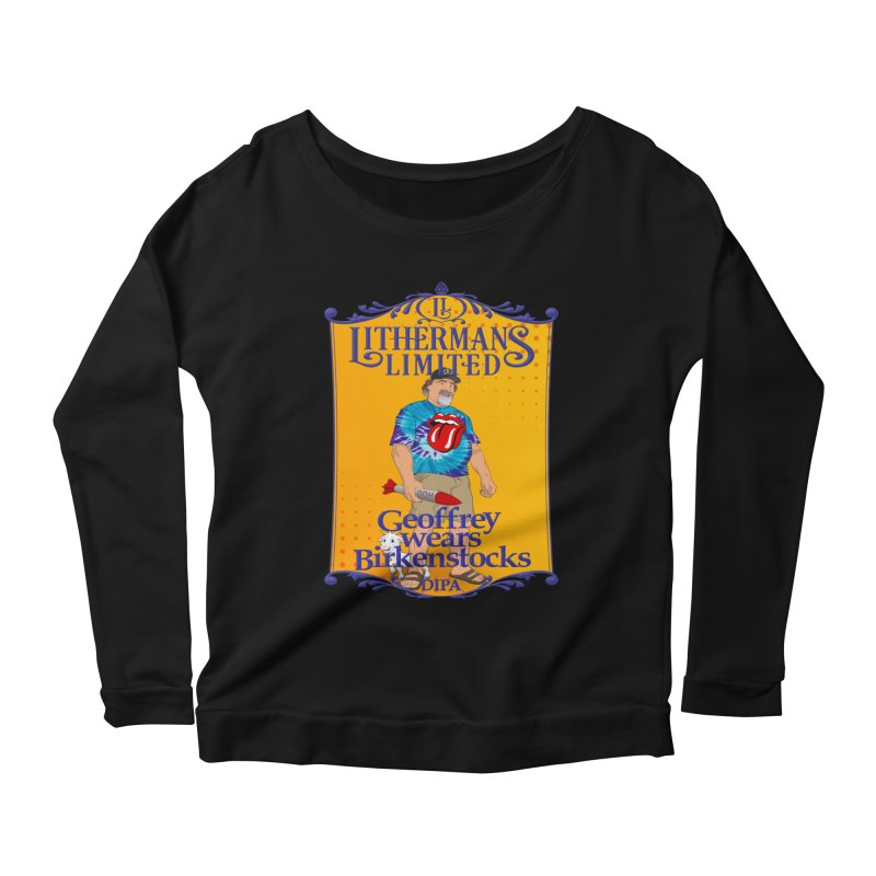 Geoffery Wears Birkenstocks Women's Scoop Neck Longsleeve T-Shirt by Lithermans Limited Print Shop