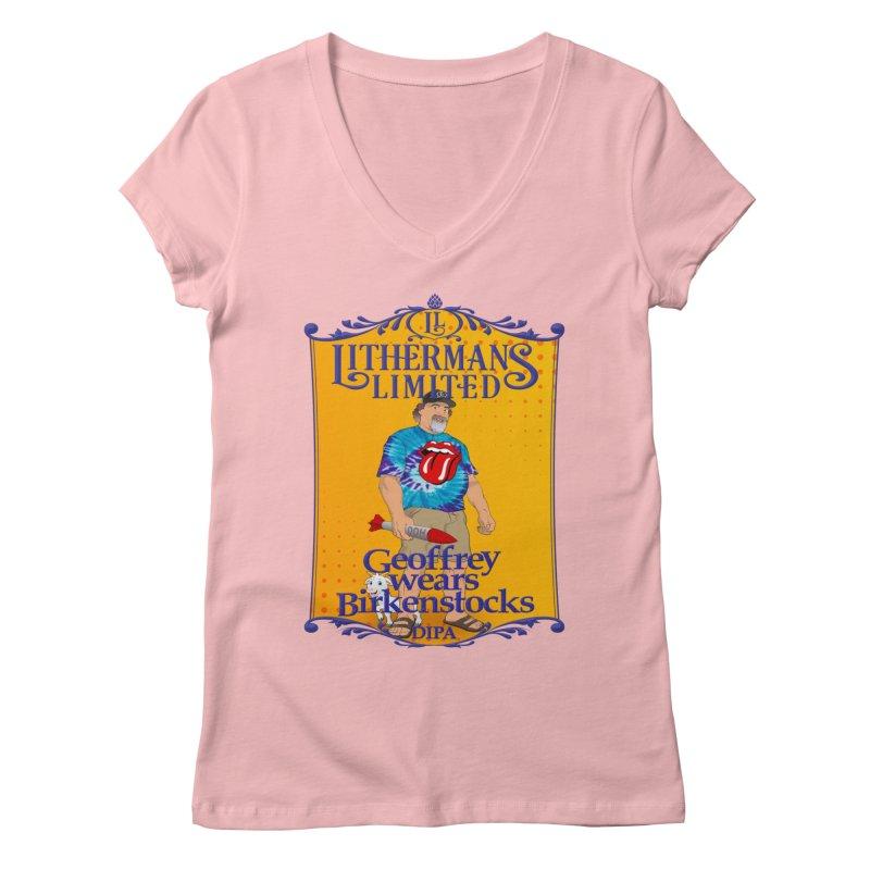 Geoffery Wears Birkenstocks Women's Regular V-Neck by Lithermans Limited Print Shop