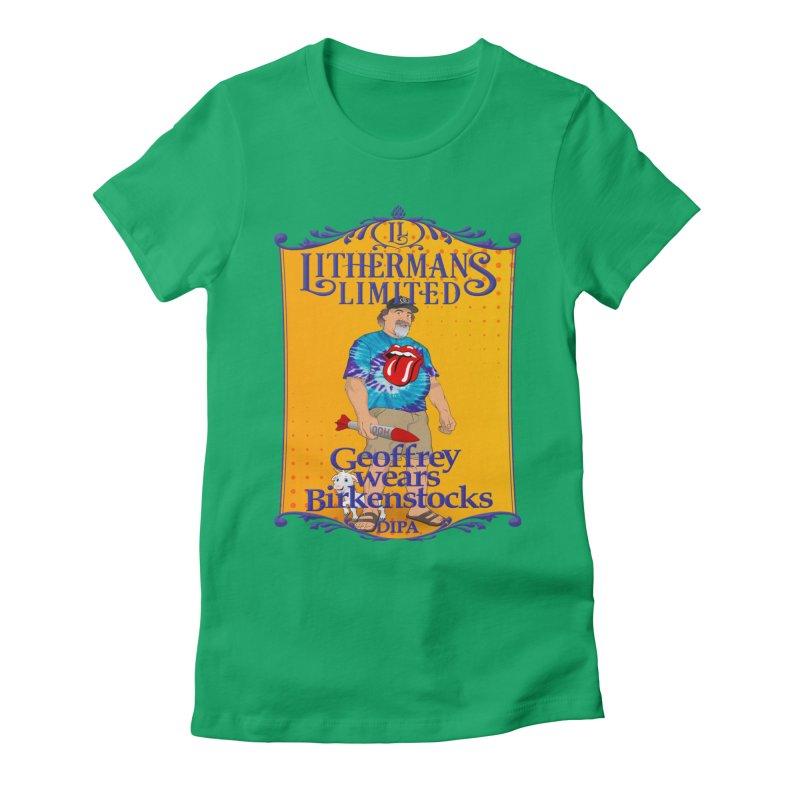 Geoffery Wears Birkenstocks Women's Fitted T-Shirt by Lithermans Limited Print Shop