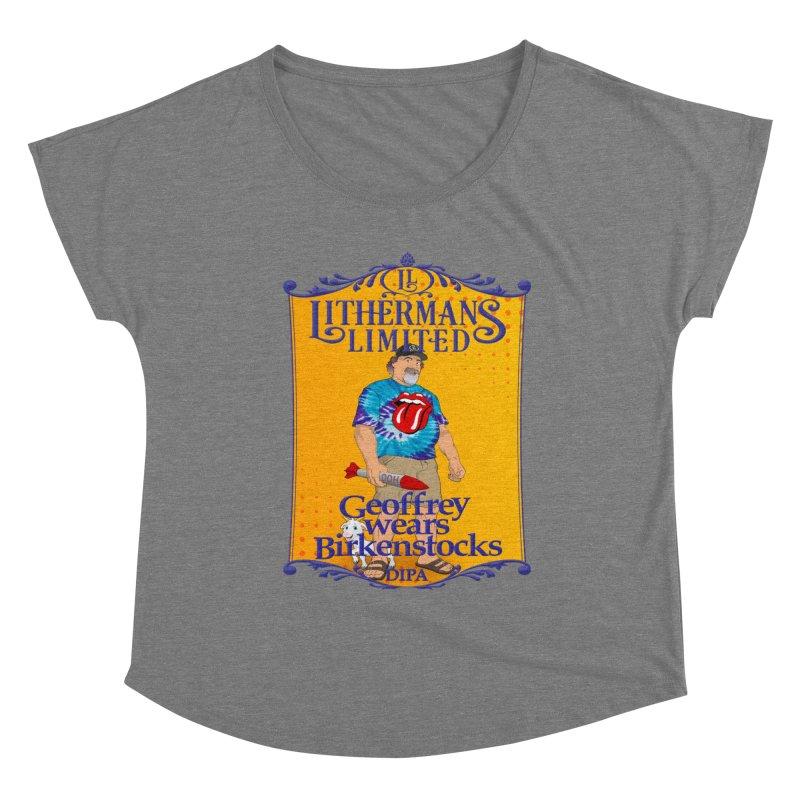 Geoffery Wears Birkenstocks Women's Scoop Neck by Lithermans Limited Print Shop