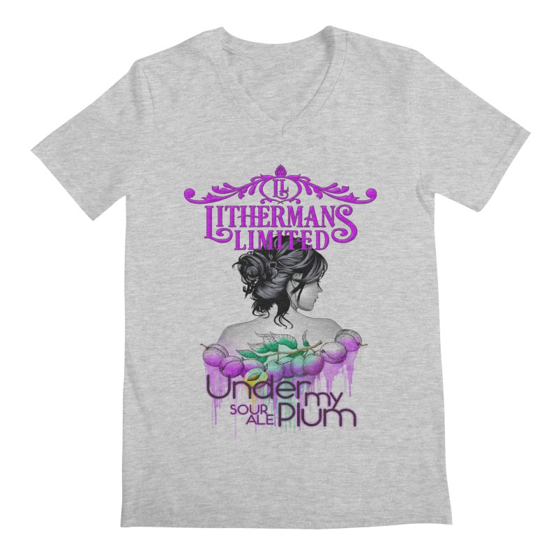 Under My Plum Men's Regular V-Neck by Lithermans Limited Print Shop