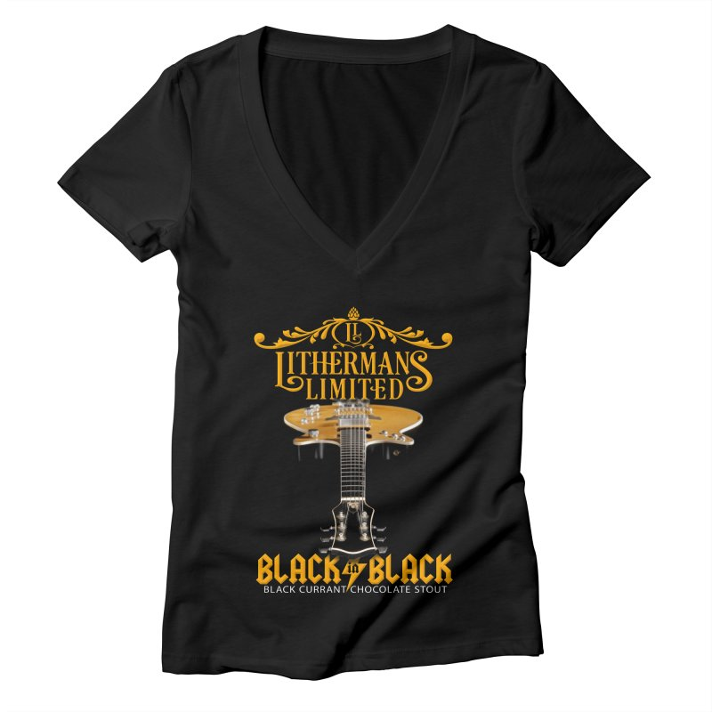 Black In Black Women's V-Neck by Lithermans Limited Print Shop