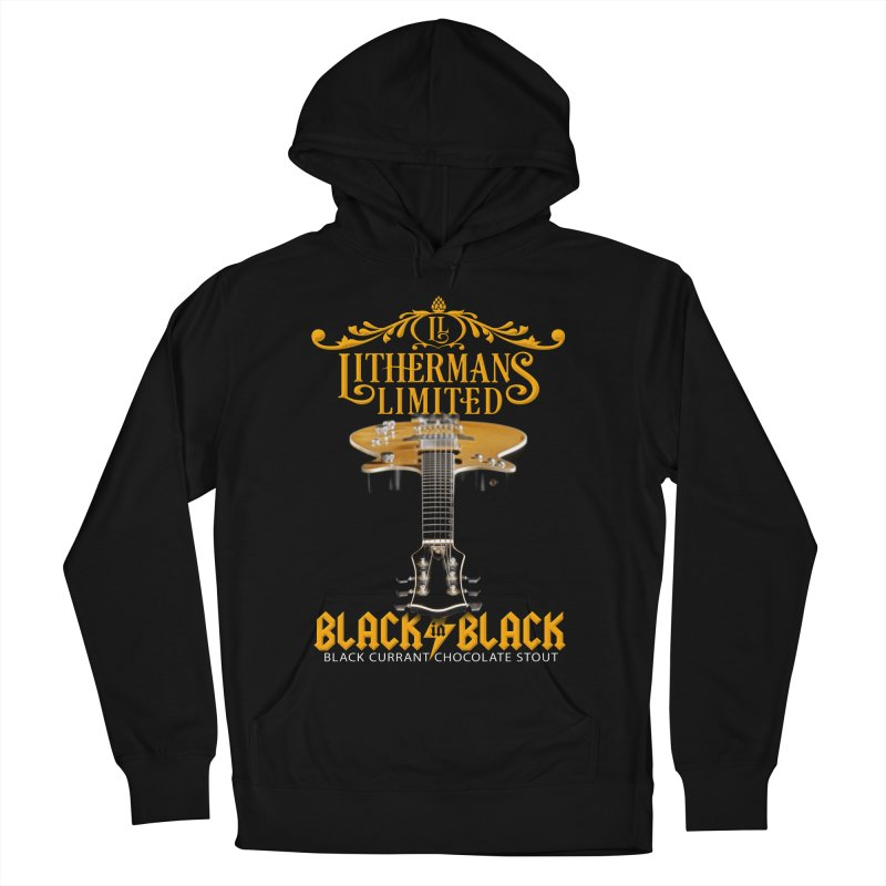 Black In Black Men's French Terry Pullover Hoody by Lithermans Limited Print Shop