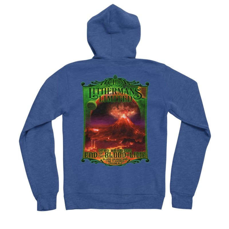 End of the Blood-Lime Men's Sponge Fleece Zip-Up Hoody by Lithermans Limited Print Shop