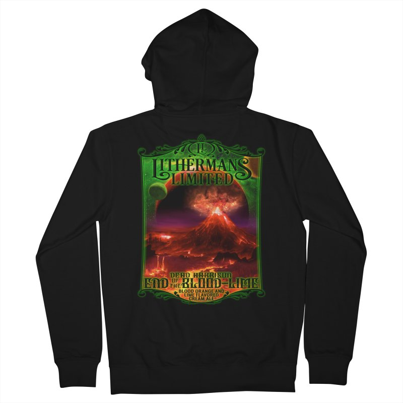 End of the Blood-Lime Men's French Terry Zip-Up Hoody by Lithermans Limited Print Shop