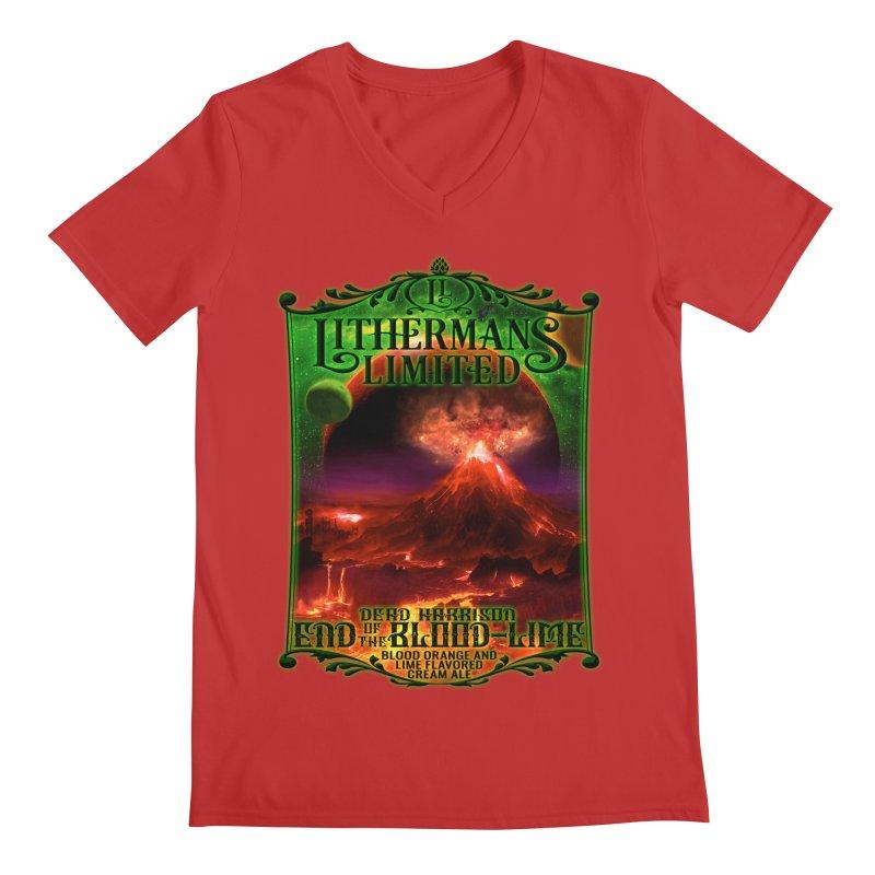 End of the Blood-Lime Men's Regular V-Neck by Lithermans Limited Print Shop