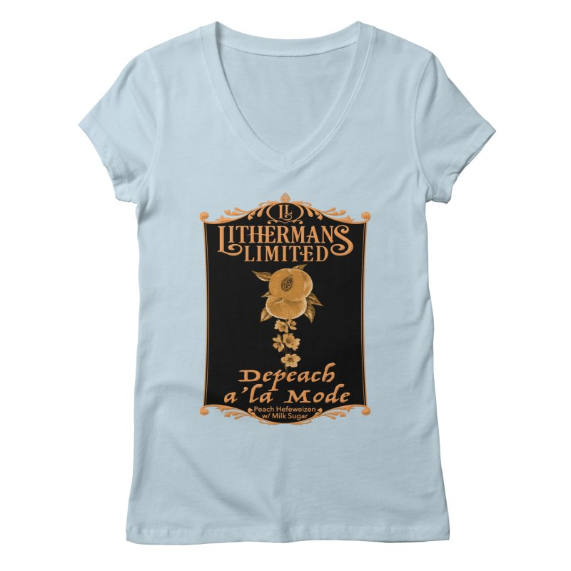 Depeach a la Mode Women's Regular V-Neck by Lithermans Limited Print Shop