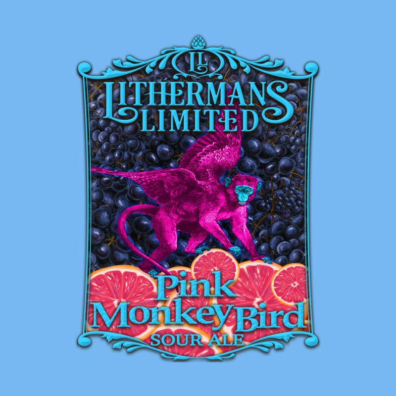 Pink Monkey Bird Men's T-Shirt by Lithermans Limited Print Shop