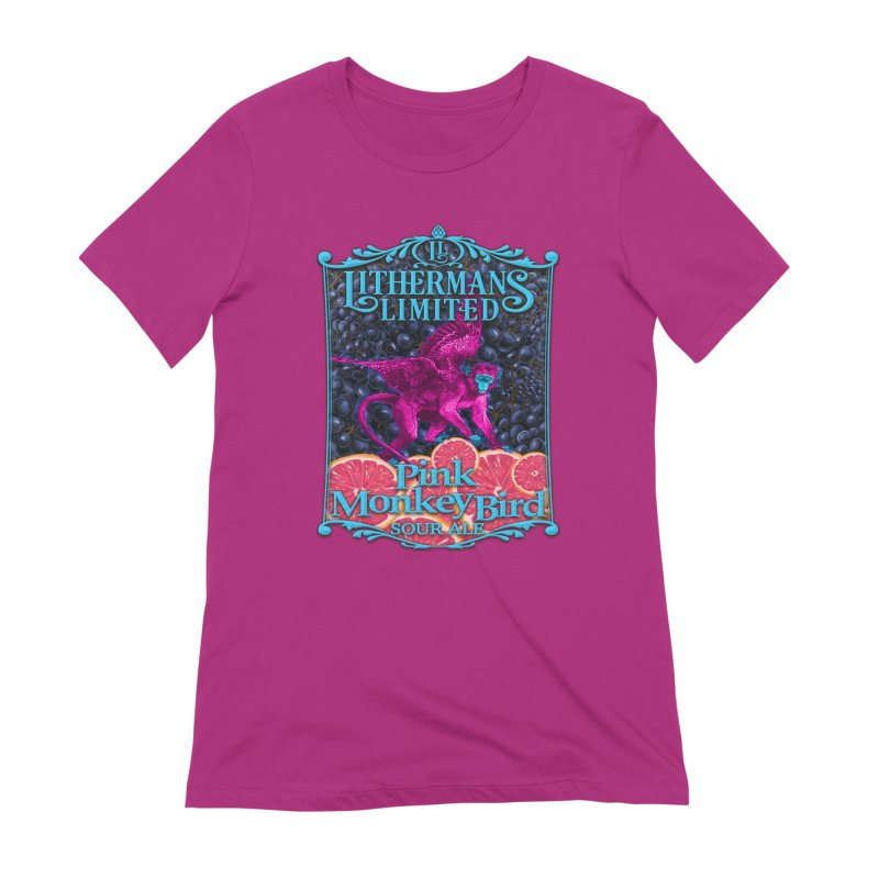 Pink Monkey Bird Women's Extra Soft T-Shirt by Lithermans Limited Print Shop