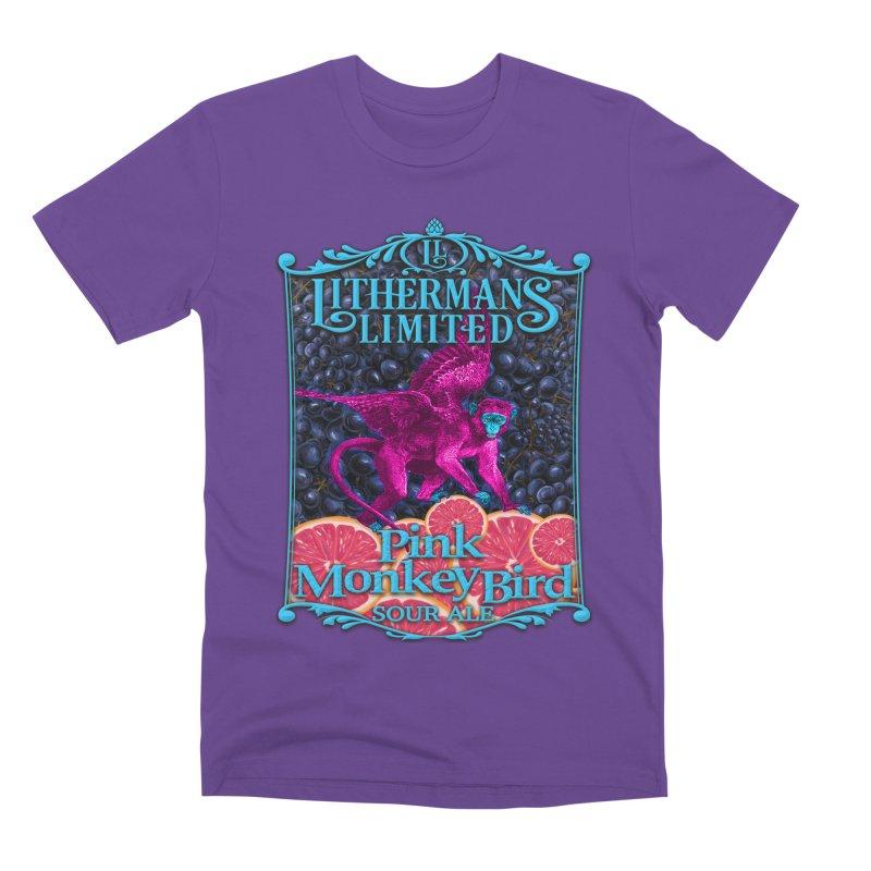 Pink Monkey Bird Men's Premium T-Shirt by Lithermans Limited Print Shop