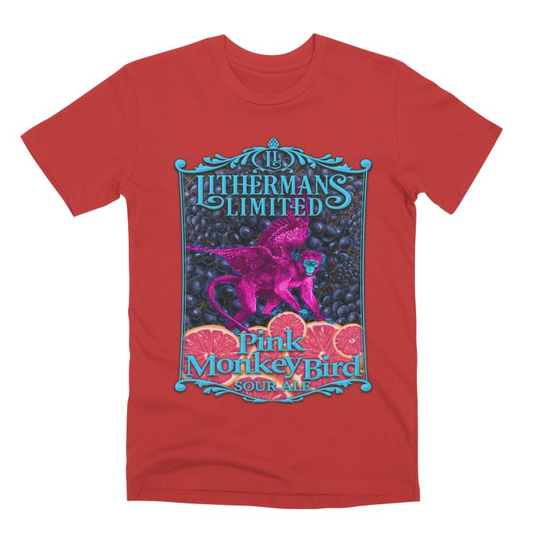 Pink Monkey Bird Men's Premium T-Shirt by Lithermans Limited Print Shop