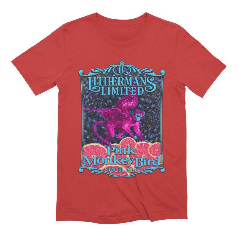 Pink Monkey Bird Men's Extra Soft T-Shirt by Lithermans Limited Print Shop