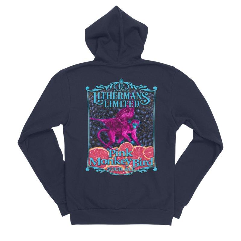 Pink Monkey Bird Men's Sponge Fleece Zip-Up Hoody by Lithermans Limited Print Shop