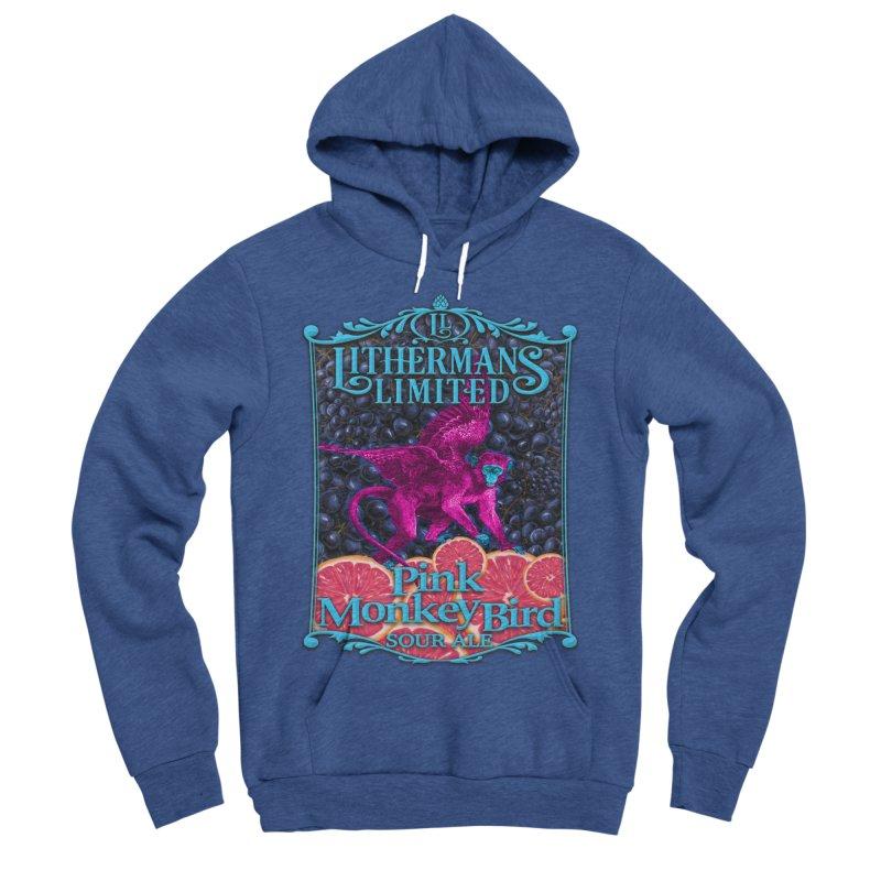 Pink Monkey Bird Men's Sponge Fleece Pullover Hoody by Lithermans Limited Print Shop