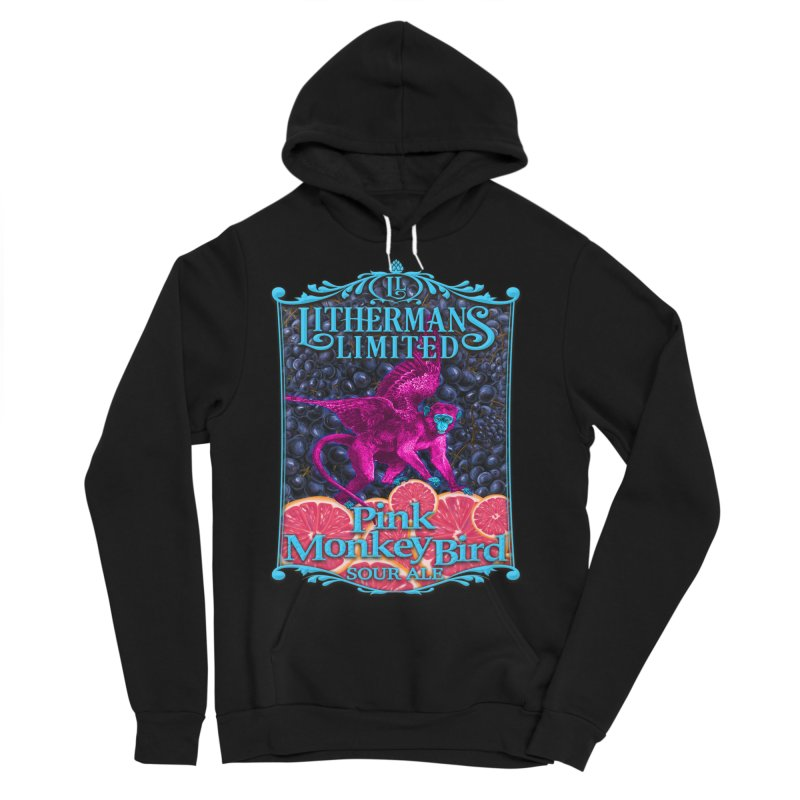 Pink Monkey Bird Men's Sponge Fleece Pullover Hoody by Lithermans Limited Print Shop