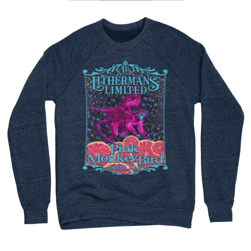 Pink Monkey Bird Men's Sponge Fleece Sweatshirt by Lithermans Limited Print Shop