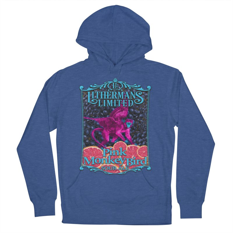 Pink Monkey Bird Women's French Terry Pullover Hoody by Lithermans Limited Print Shop