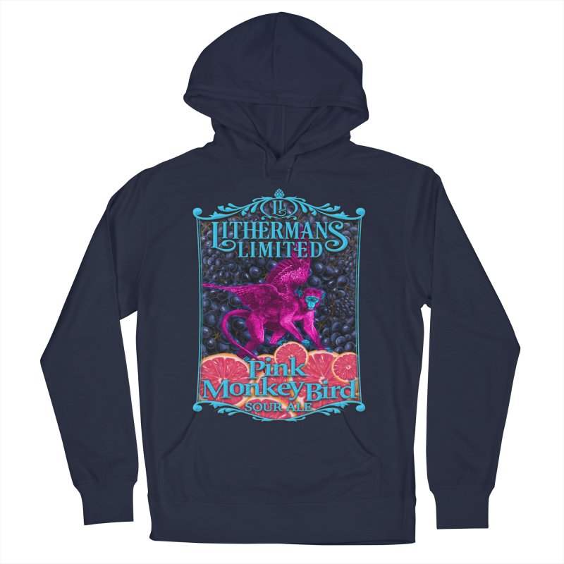 Pink Monkey Bird Men's French Terry Pullover Hoody by Lithermans Limited Print Shop