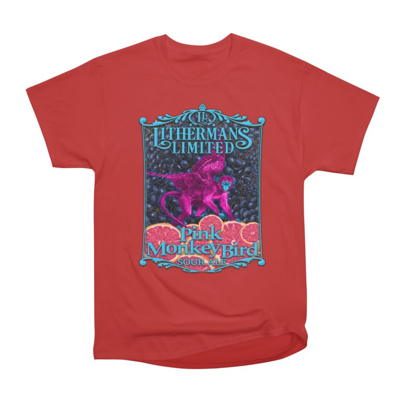Pink Monkey Bird Men's Heavyweight T-Shirt by Lithermans Limited Print Shop