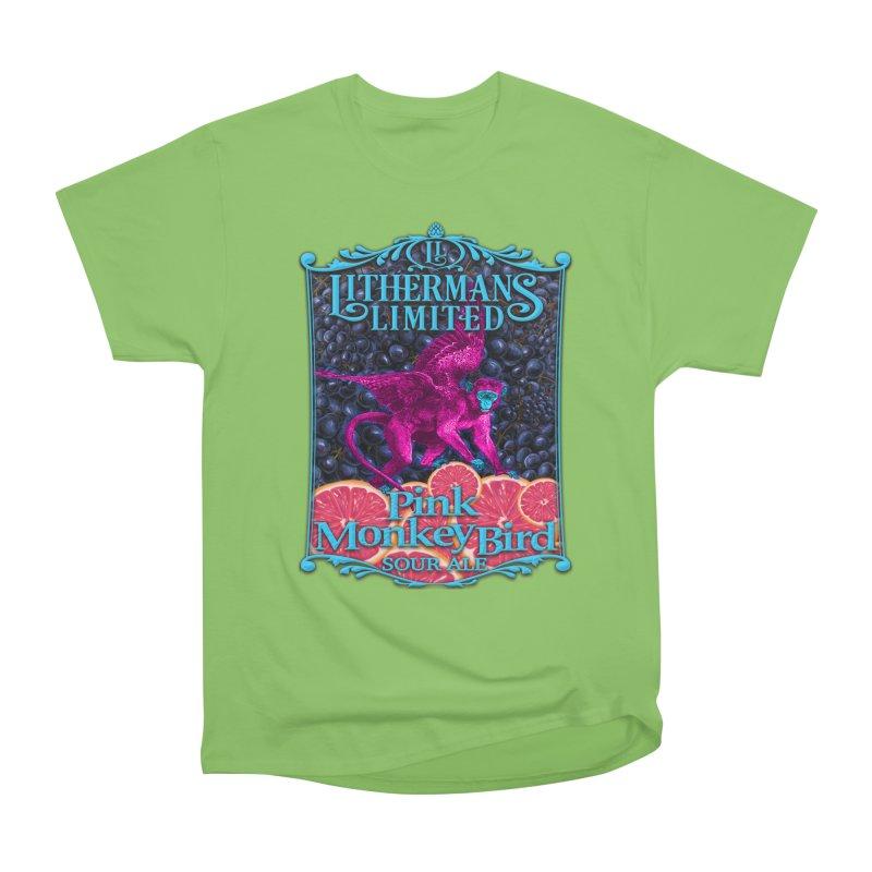 Pink Monkey Bird Women's Heavyweight Unisex T-Shirt by Lithermans Limited Print Shop