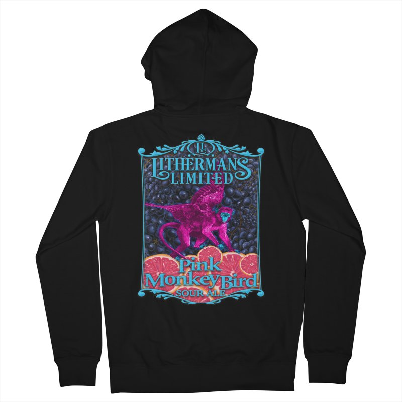 Pink Monkey Bird Women's French Terry Zip-Up Hoody by Lithermans Limited Print Shop