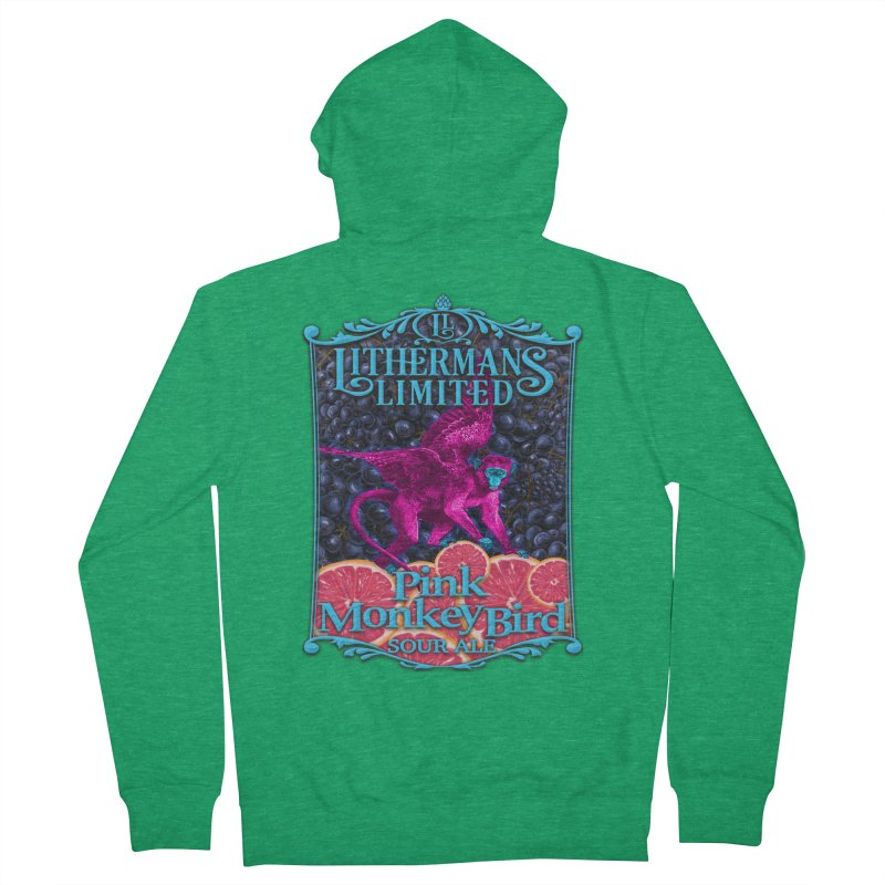 Pink Monkey Bird Men's Zip-Up Hoody by Lithermans Limited Print Shop