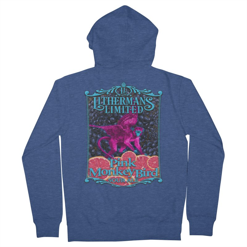 Pink Monkey Bird Men's French Terry Zip-Up Hoody by Lithermans Limited Print Shop