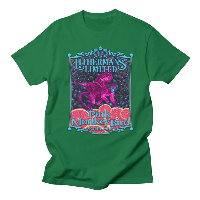 Pink Monkey Bird Men's Regular T-Shirt by Lithermans Limited Print Shop