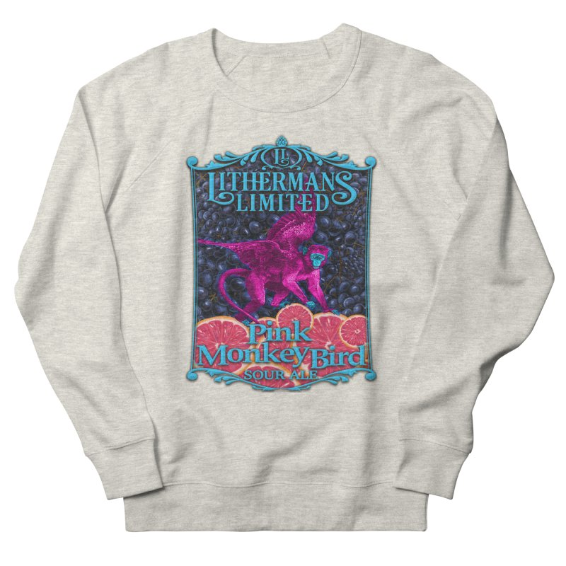 Pink Monkey Bird Women's French Terry Sweatshirt by Lithermans Limited Print Shop