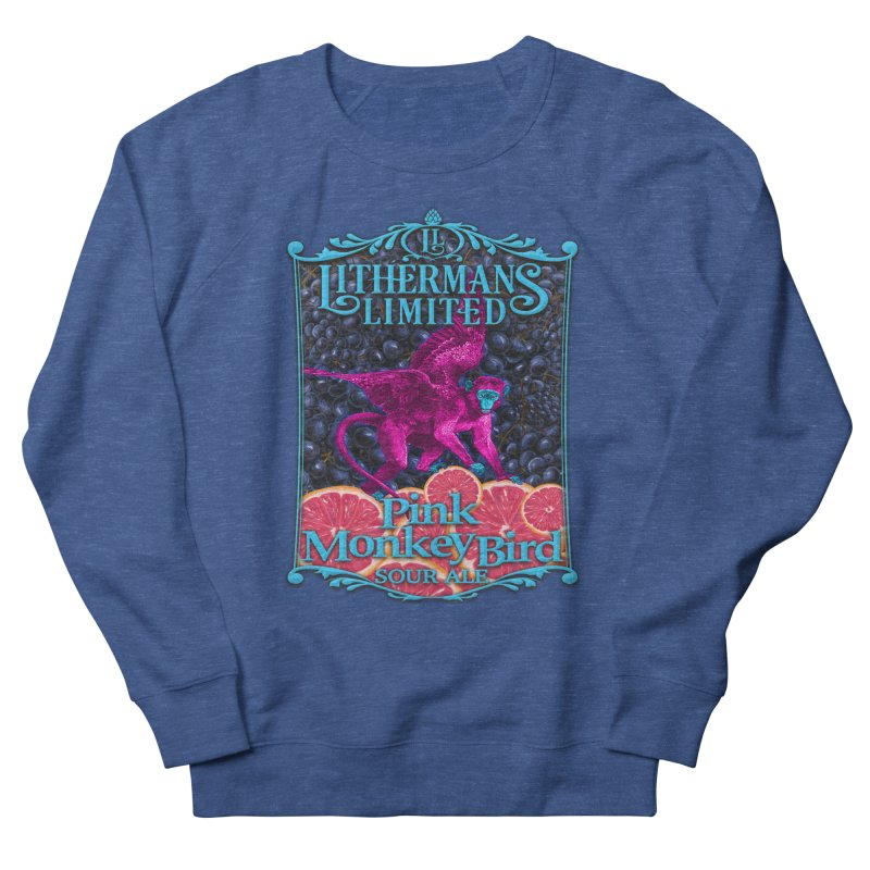 Pink Monkey Bird Men's French Terry Sweatshirt by Lithermans Limited Print Shop