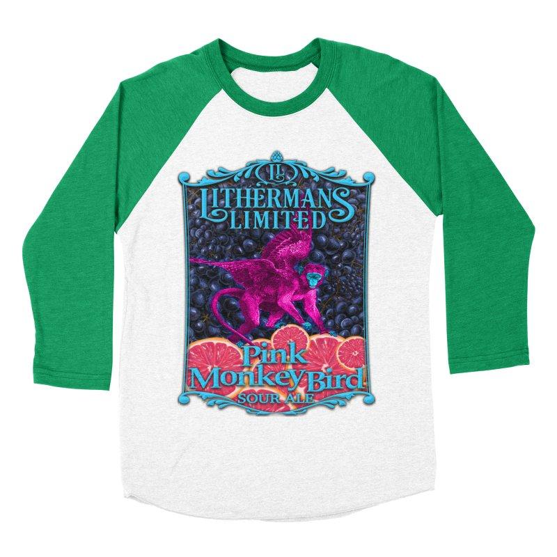 Pink Monkey Bird Women's Baseball Triblend Longsleeve T-Shirt by Lithermans Limited Print Shop