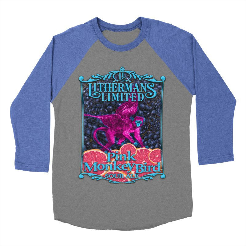 Pink Monkey Bird Men's Baseball Triblend Longsleeve T-Shirt by Lithermans Limited Print Shop