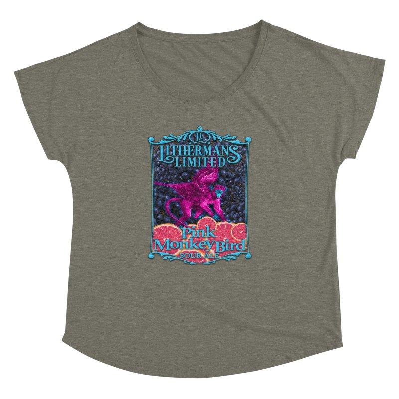 Pink Monkey Bird Women's Dolman Scoop Neck by Lithermans Limited Print Shop