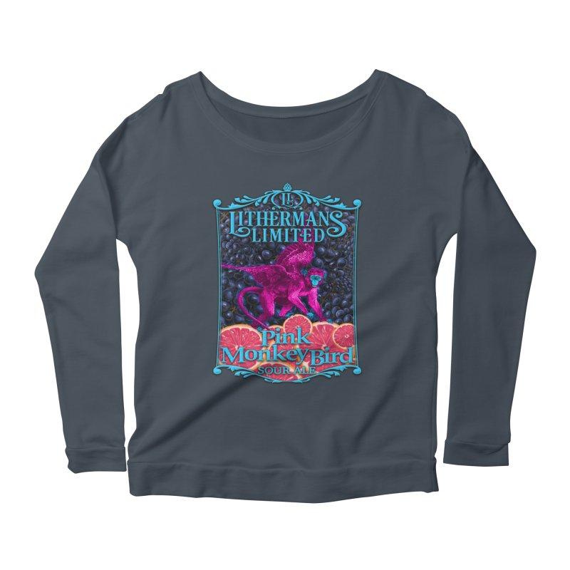 Pink Monkey Bird Women's Scoop Neck Longsleeve T-Shirt by Lithermans Limited Print Shop