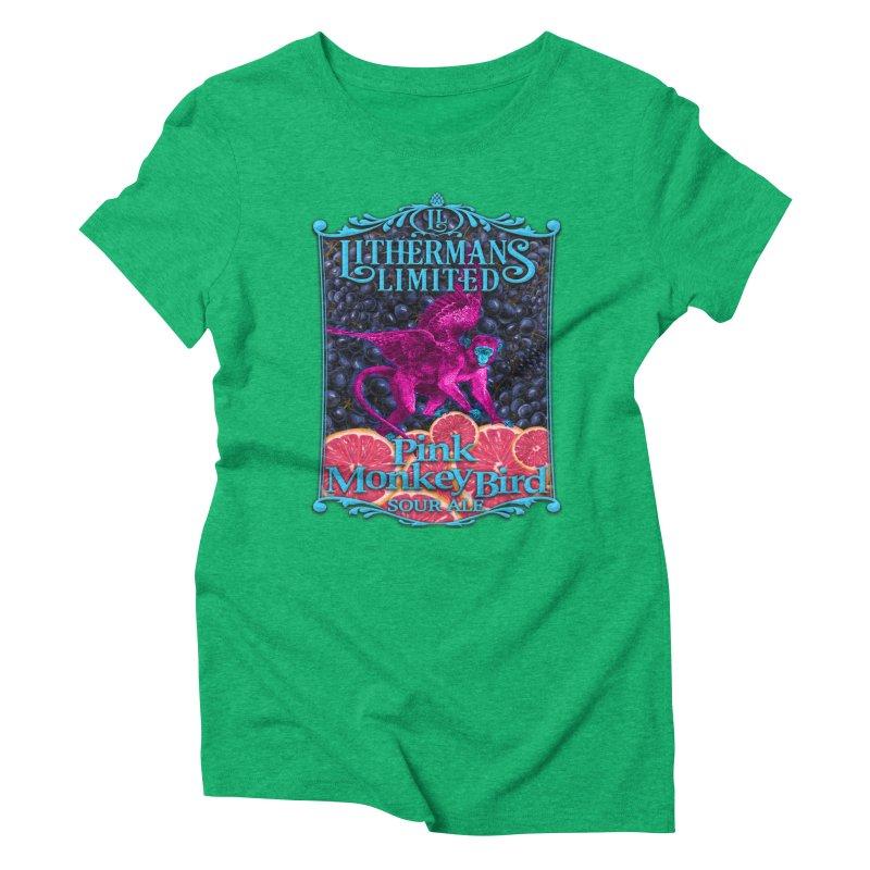 Pink Monkey Bird Women's Triblend T-Shirt by Lithermans Limited Print Shop