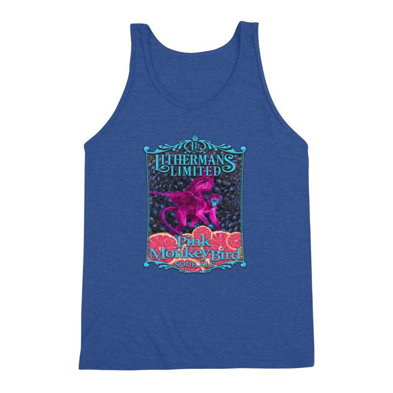 Pink Monkey Bird Men's Triblend Tank by Lithermans Limited Print Shop