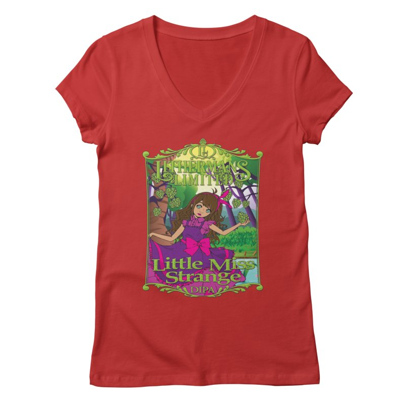 Little Miss Strange Women's Regular V-Neck by Lithermans Limited Print Shop