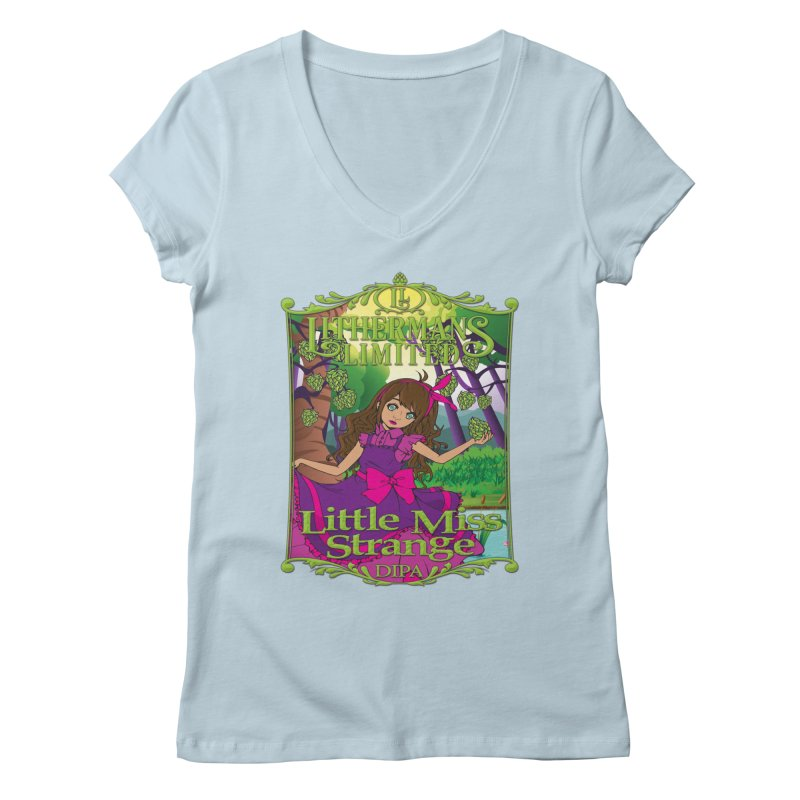 Little Miss Strange Women's Regular V-Neck by Lithermans Limited Print Shop