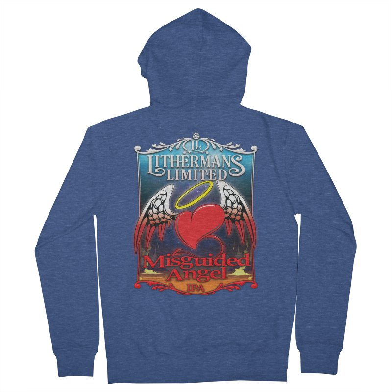 Misguided Angel Men's French Terry Zip-Up Hoody by Lithermans Limited Print Shop