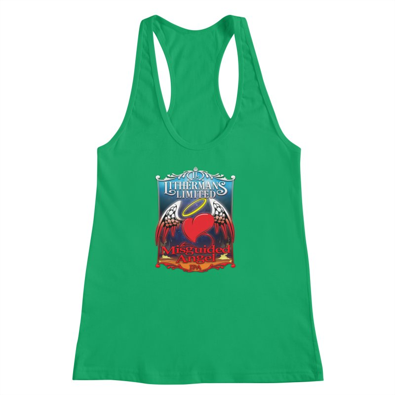 Misguided Angel Women's Racerback Tank by Lithermans Limited Print Shop